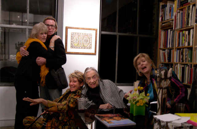 Phyllis Kind and friends in her office after an opening